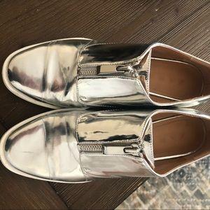 Zara silver zipped bluchers